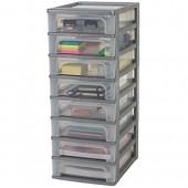 Basics 135668 Tour de rangement 8 tiroirs Organizer Chest  Plastique  Gris  8 x 4 L