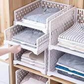 HOMIXES 2 Pcs Armoire Empilable Tiroir Unités Organisateur Vêtements Placard Rangement Boîtes Étagères Diviseur en Plastique Conseil Cube Jouet Collations Conteneurs Blanc  Type Court/S
