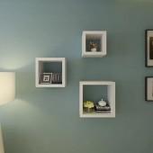 Lingjiushopping Lot de 3étagères Cube Couleur: Blanc avec Finition en Vernis Brillant matériel: MDF