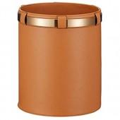 DEF Corbeille de Mode Simple Poubelle Corbeille à Papier en Cuir Microfibre 3.2 gallons (12L)  pour Salon  Bureau et Chambre à Coucher (Color : Orange)