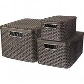 CURVER   Lot de 3 boîtes STYLE (6L+18L+30L) avec couvercle  Aspect rotin  Marron foncé  Plastique