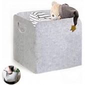 DZSEE Boîtes de Rangement en Tissu  30x30cm Panier de Rangement Feutre épaissi  Panier de Rangement Gris  Pliable avec Poignées  pour Le Lavage du Linge  Jouets  Vêtements