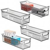 mDesign boîte de rangement en plastique avec poignées intégrées (lot de 4) – boite plastique pour le rangement des ustensiles de cuisine  de la salle de bain ou du bureau – gris fumé
