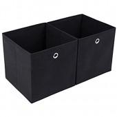 SONGMICS Lot de 2 Boîtes Tiroirs en Tissu  Cube de Rangement Pliable  Coffre pour Linge  Jouets  Vêtements  30 x 30 x 30 cm  Noir RFB02H
