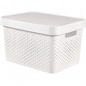 Curver 04742-N23-00 Boîte Infinité avec Couvercle/Dot Pattern  Plastique  Blanc  35 x 25 x 10 cm