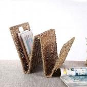 Yaeele moderne Panier en rack panier de stockage de journaux Bookshelf utilisation quotidienne des ménages Combinaison rurale de fer et rotin