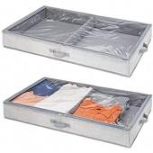 mDesign housse de dessous de lit pour vêtements & chaussures – sac de rangement avec 2 sections de rangement – accessoire de rangement  pour stockage peu encombrant des vêtements – gris - Paquet de 2