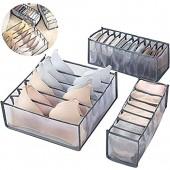 Ensemble de 3 séparateurs de tiroir pliables  Boîtes de Rangement Pliables  Organisateurs d'armoires de Placard  Parfait Pour la Lingerie  Sous-vêtements  Soutien-gorge  Chaussettes et foulards (Grey)