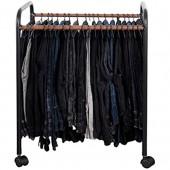Lqdp Cintres Porte-Pantalons Cintres Multifonctionnels pour Pantalons avec Roues sur Freins  Hauteur 70cm avec 20 Cintres en Fer - Contient Un Jean/Une Jupe/Une Cravate/Une Ceinture  Noir