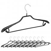 Relaxdays Cintres pour costumes revêtement antidérapant noir métal lot de 10  noir 45 x 22 5 x 3 cm