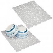 mDesign tapis évier en PVC à découper (lot de 2) – grand tapis protège évier de cuisine à motifs bulles de savon – tapis pour cuisine pratique en PVC pour vaisselle et évier – gris clair