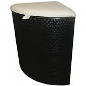 Rattan im Trend Panier à linge d'angle en rotin avec siège rembourré Noir
